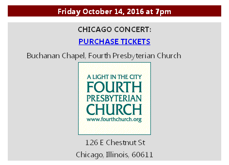 Purchase tickets for Octboer 14 Chicago Concert