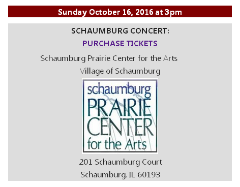 Ticket and Information Schaumburg Concert 3pm October 16