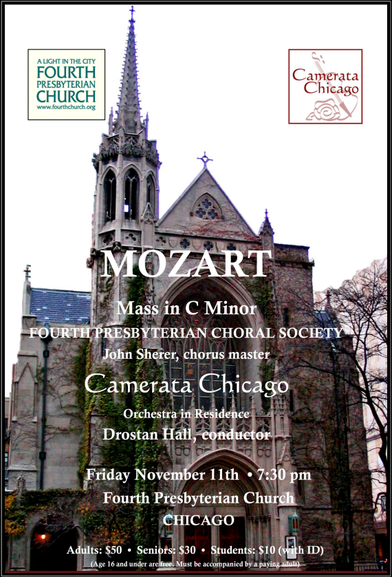 November 11, 2016 Mozart C Minor Mass at Fourth Church, Chicago