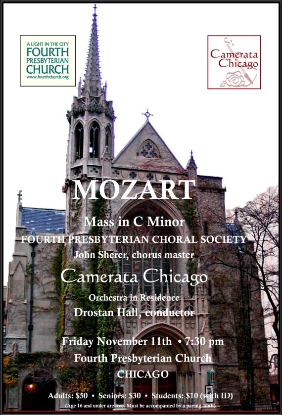 November 11, 2016 Mozart C Minor Mass at Fourth Church, Chicago