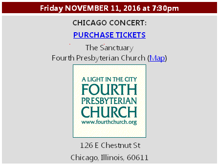 Purchase tickets for November 11 with the Fourth Church Choral Society
