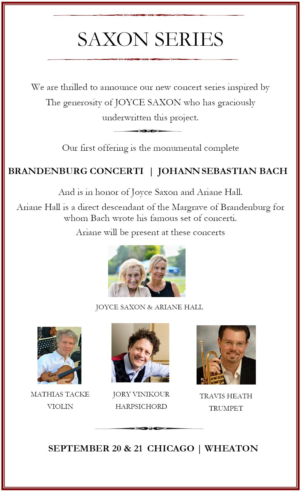 SAXON-SERIES: Complete Brandenburg Concerti Sep 20 & 21